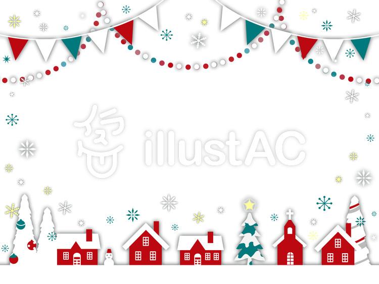 北欧冬の街並みクリスマス背景白イラスト No 1318390無料イラスト