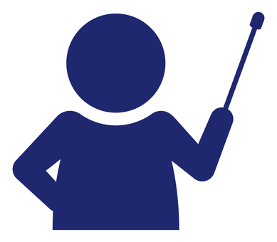 Person with pointing stick