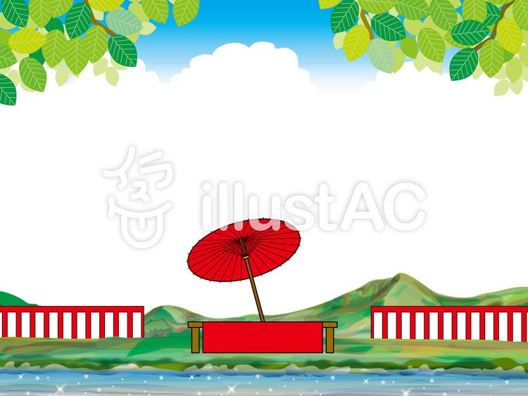 茶屋の長椅子で休憩73夏の川岸で野点イラスト No 1374261無料