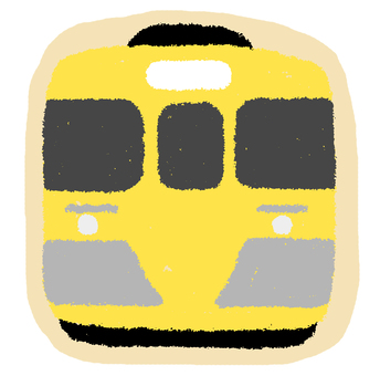Yellow line train flake seal of Seibu Line