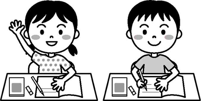Child lesson black and white