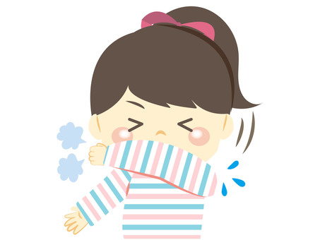 Girl holding a sneeze or cough in her sleeve