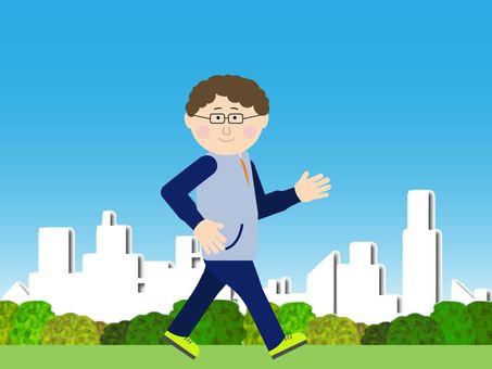 거리를 산책하는 남자