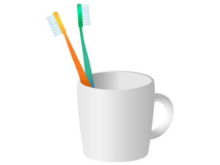 Two cups with toothbrush
