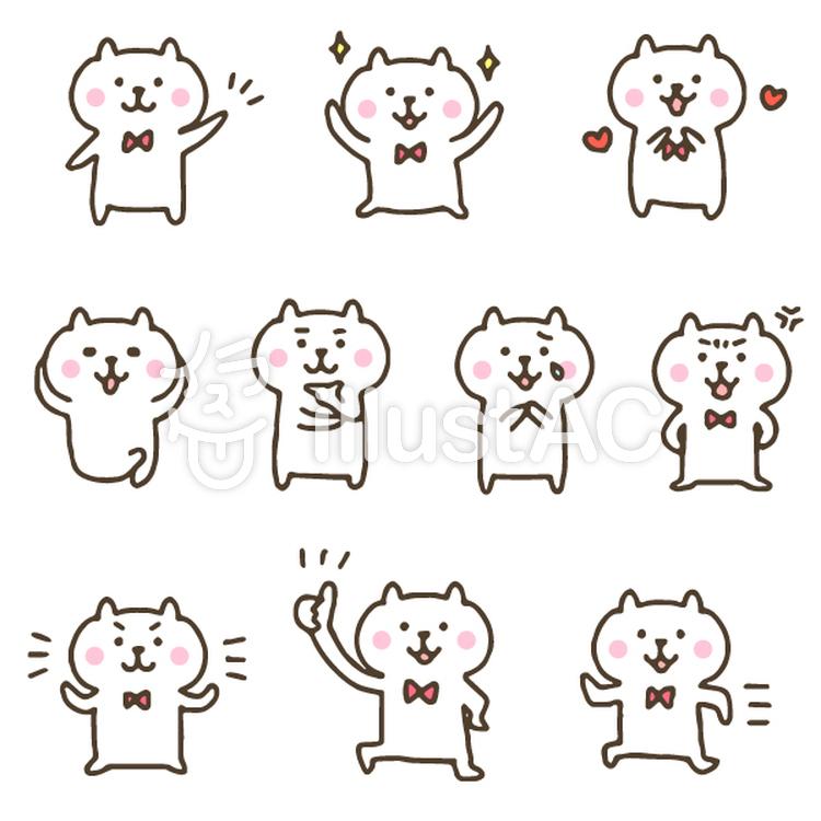 手描きのかわいいくま/動物/キャラクターイラスト , No 1380684