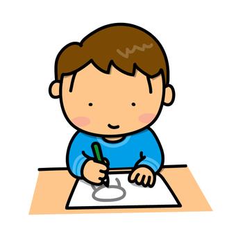 一個男孩畫一張照片