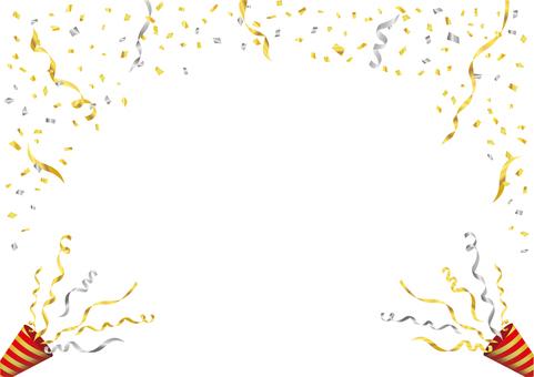 金の紙吹雪とクラッカー背景フレーム
