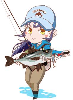 Fishing Girl Sea Bass Fishing