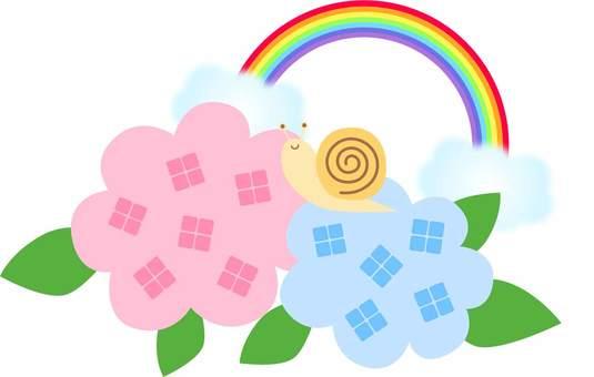 Rainy season snail and hydrangea