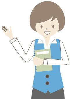 藍色制服的婦女_筆記