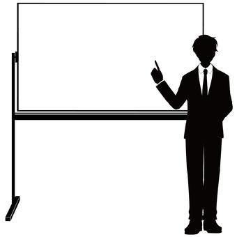 Male silhouette in a whiteboard suit