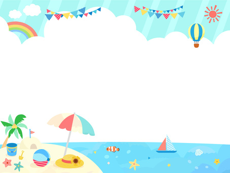 Cute summer beach frame