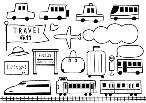 Travel transportation set_hand drawn_monochrome