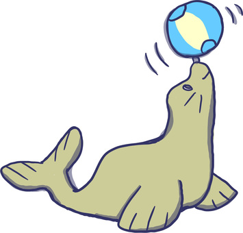 Sea lion sea creature blue ball