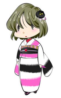 Showa modern kimono girl