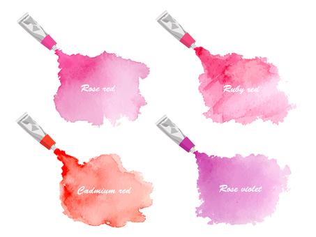 水彩藝術氣球紅紫羅蘭色系統