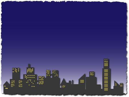 도시의 건물 프레임 밤