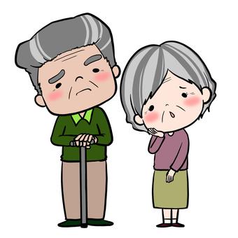 Elder couple embarrassed face set