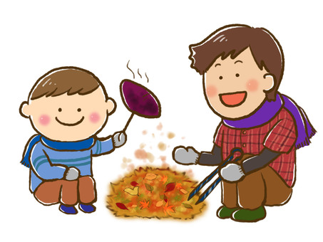 Boy and father who sweet potatoes