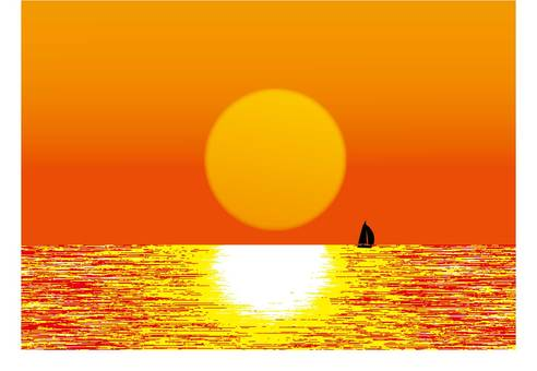 The setting sunset and sailboat