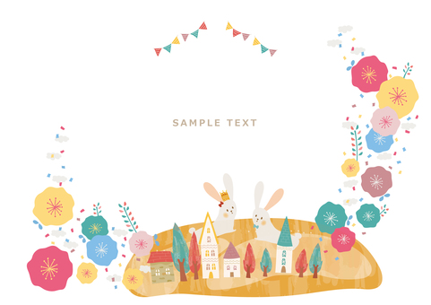 Flower, town and rabbit message card