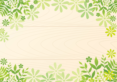 Leaf and flower frame background wood