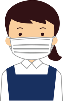 Saleswoman with mask