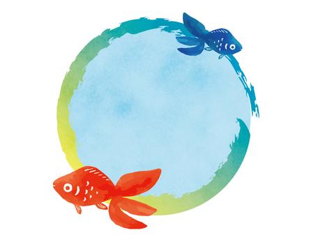 Goldfish circular frame hand drawn watercolor