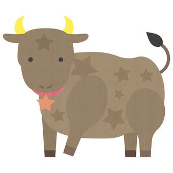 七夕牛の可愛いイラスト