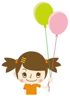 一个有气球的女孩
