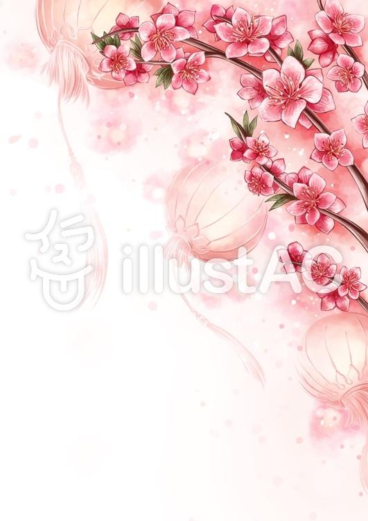 桃の花と旧正月イラスト No 1267902無料イラストならイラストac