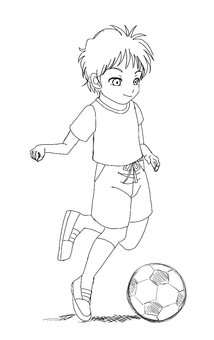 Children playing soccer (line drawing)