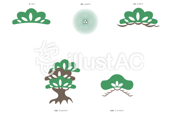 [伝統文様]松文様セットのイラスト