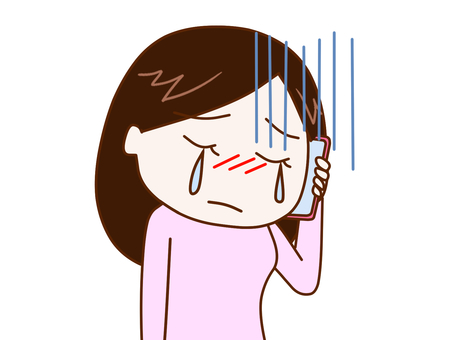 Woman 2 talking while crying on a smartphone