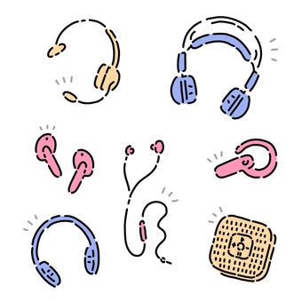 Material set of various headphones
