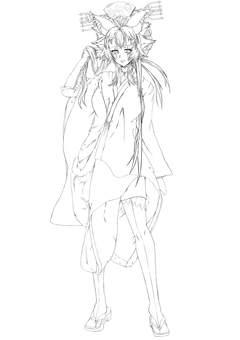 Natsumi Haruno, standing picture kimono, line drawing