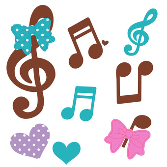 Musical note and ribbon