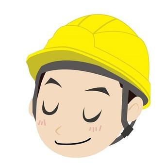 A smiling helmet man