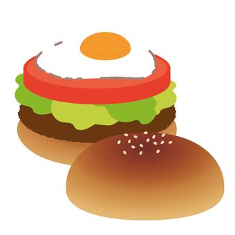 햄버거 계란 후라이 버거
