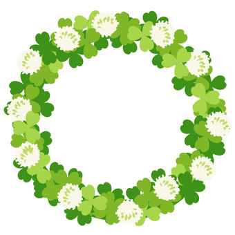 Circular frame of white clover and clover