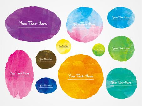 西瓜繪畫氣球圓水彩