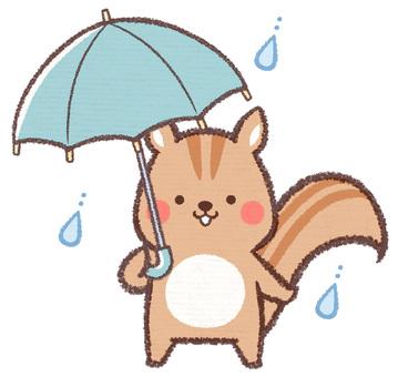 傘さしリス