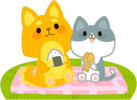 A dog and a cat playing a picnic
