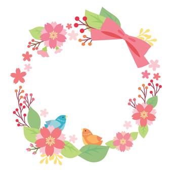 작은 새와 벚꽃 장식