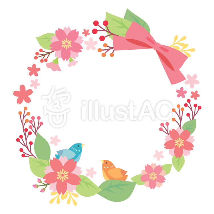 小鳥と桜の花飾りイラスト No 353968無料イラストならイラストac
