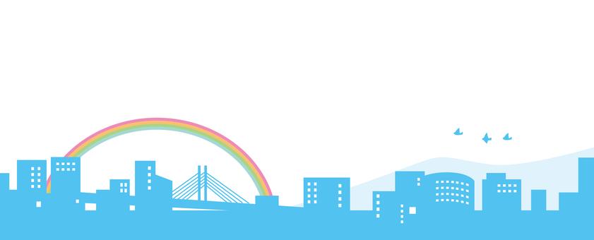Cityscape Simple landscape Silhouette Rainbow