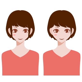 Upper body of a woman, short hair