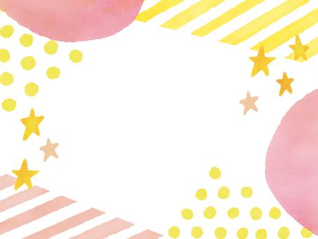 Watercolor Shimashima & Polka Dot & Star combination