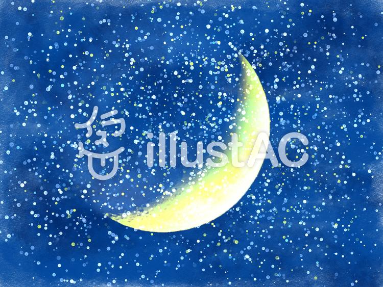 こぼれそうな満天の星と三日月イラスト No 9816 無料イラストなら イラストac