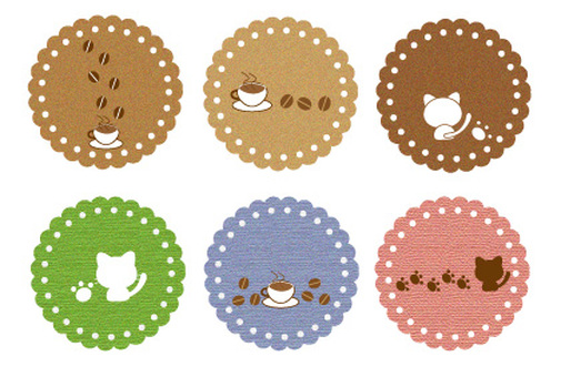 Cafe and cat coaster